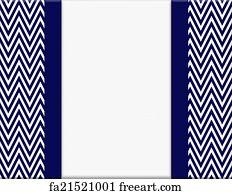 Free Art Print Of Navy Blue And White Chevron Zigzag Frame