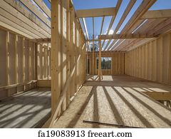free art print of new house framing construction new framing house
