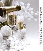 bubble border art print new year card design with champagne