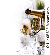 bubble border art print new year celebrationchampagne