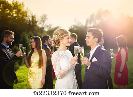 No Guests Art Print Newlyweds And Wedding Clinking Gles