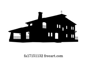 free art print of big classic house with a balcony and arch windows