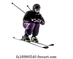 Free art print of One woman skier freestyler jumping silhouette