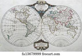 Free art print of original antique north america map 1750 hand art print original antique world map gumiabroncs Images