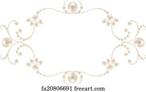 free art print of pearl border gray background with pearl border