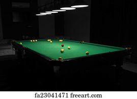 Pool Hall Art Print   Pool Table In Empty Dimly Lit Pool Hall