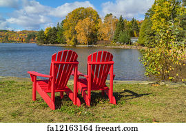 Free art print of Lake waterfront with pier and two blue chairs.