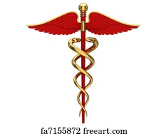 free art print of yellow caduceus medical symbol yellow caduceus