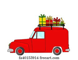 Free art print of Dogs in red Christmas truck. Golden retrievers in ...