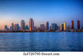 Free Art Print Of San Diego Skyline At Dusk Reflected In Sea