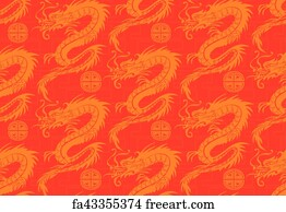 7fef0356f Free art print of Fragment of red chinese silk with golden dragons ...