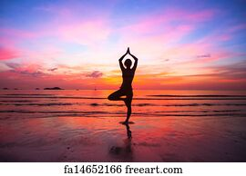 Free Art Print Of Yoga Outdoors Silhouette A Woman Sitting In