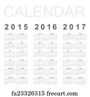 art print simple calendar year 2015 2016 2017 vector
