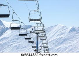 Art Print   Ski Lift Chairs On Bright Winter Day