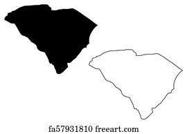 picture relating to Printable Maps of South Carolina named No cost South Carolina Map Vector Artwork Prints and Wall Art