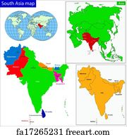 Free art print of Southern Asia map. Color map of Southern Asia ...