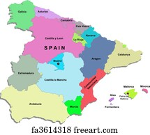 Small Map Of Spain.Free Art Print Of Map Of Spain Galicia Highlighted