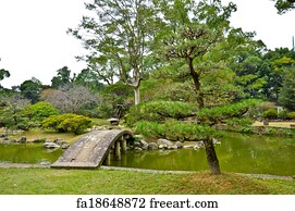 art print stone bridge in japanese garden at isahaya japan - Japanese Garden Stone Bridge