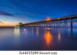 Free art print of The fishing pier at sunrise, in Folly Beach, South  Carolina