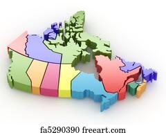 art print three dimensional map of canada 3d