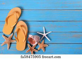 889ca4623293 Flip Flop Border Art Print - Tropical Beach Summer Flip Flops Starfish  Background Border