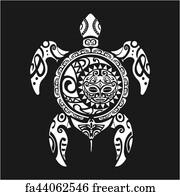 07d43cff9 Turtle Tattoo Art Print - Turtle Tattoo In Maori Style On A Black  Background. Vector
