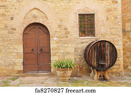 Art Print - Tuscan House Doorway & Free art print of Doorsteps decorated with flowerpots to the tuscan ...
