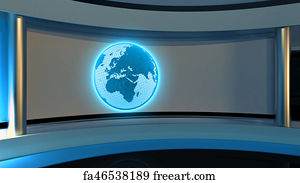 Free art print of Tv Studio  News studio  Blue studio  The perfect backdrop  for any green screen or chroma key video or photo production  3D rendering