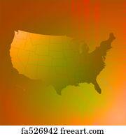 art print us map brown