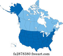 Free Art Print Of Usa And Canada States And Provinces Vector Map