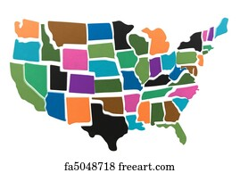 Free art print of USA textured map puzzle