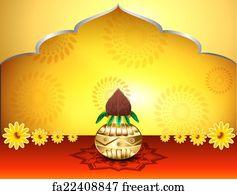 Flower Rangoli Deepak Floral Clay Art Print