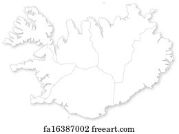 Free art print of Vector map of Iceland with regions. Vector map of ...