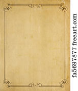 Art Print   Very Old Blank Paper Background With Scroll Border  Blank Paper Background