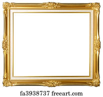 Free Art Print Of Vintage Detailed Gold Empty Picure Frames