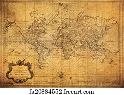d959583dc5 Free art print of Vintage map of the world 1752