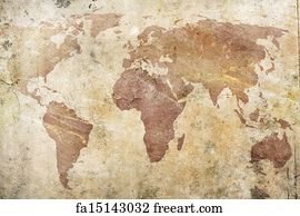 Free art print of Old World Map in Hemispheres A genuine old