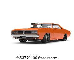 Free Art Print Of Vintage Orange American Muscle Car Side View