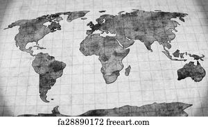 Free Art Print Of Vintage Map Of The World FreeArt Fa - Black and white vintage world map