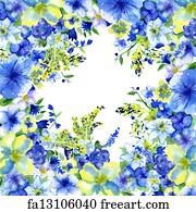 Free art print of watercolor dark blue and yellow flowers on a white art print watercolor dark blue and yellow flowers on a white background mightylinksfo