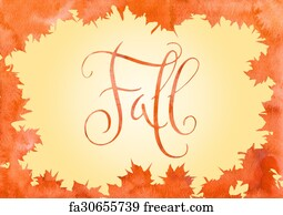 free art print of watercolor maple leaf and fall word orange