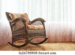 Old Fashioned Rocking Chair Art Print   Wicker Rocking Chair Composition