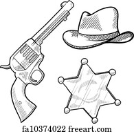 free horse pistol art prints and wall artwork freeart Flintlock vs Matchlock horse pistol art print wild west sheriff objects sketch