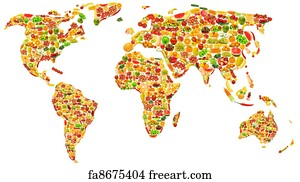 Free made in australia art prints and wall art freeart made in australia art print world map made of many fruits and vegetables gumiabroncs Choice Image