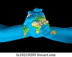 Free art print of africa painted on hands map of the continent art print world map on hands gumiabroncs Images