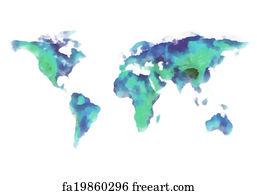 Free map asia art prints and wall art freeart map asia art print world map watercolor painting gumiabroncs Gallery