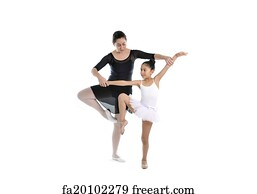 free art print of young little girl ballerina learning dance lesson
